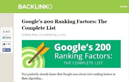 Brian Dean 200 Google ranking factors