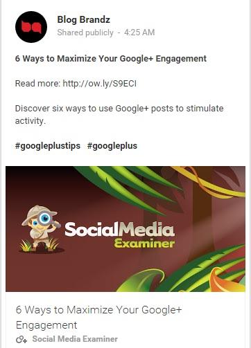 Google+ formatting result