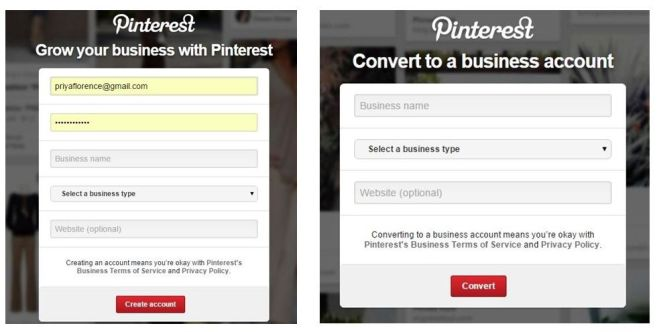 Pinterest Business Create