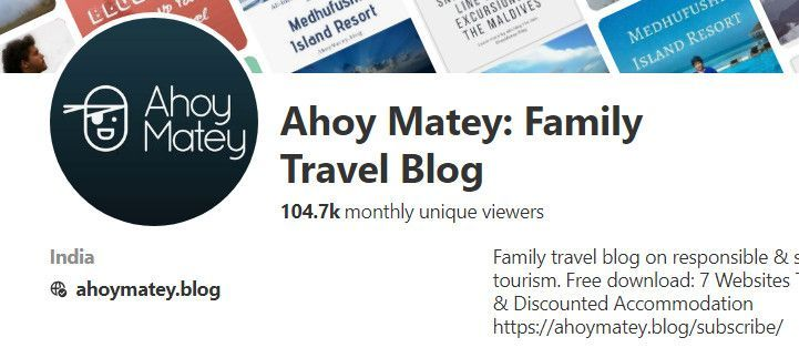 Ahoy Matey Monthly Unique Views