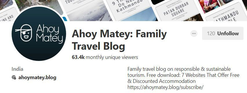 Ahoy Matey Pinterest Profile in August