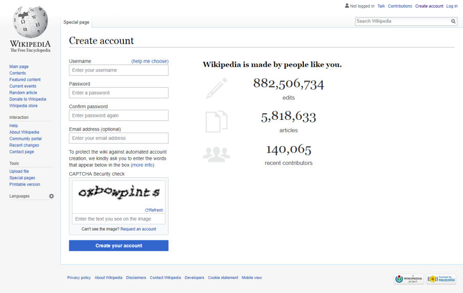 Create an account on Wikipedia